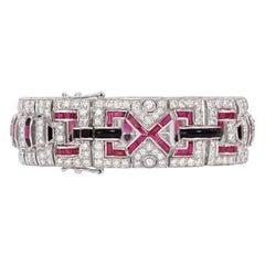 Diamond, Ruby and Onyx Art Deco Style Diamond Bracelet