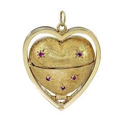 Large Heart Gemset Gold Locket for 6 Pictures