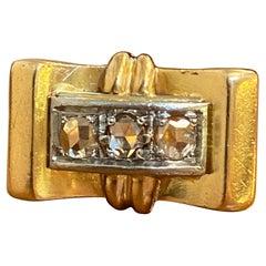 French 18k Rose Gold & Rose Cut Diamond Tank Ring circa 1900s Victorian Rare