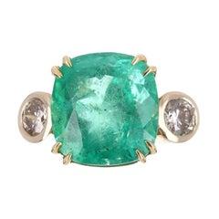 12.89tcw 18K Three Stone Cushion Emerald & Round Diamond Ring