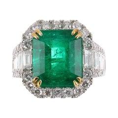 7.85tcw AAA+ Emerald & Diamond Statement Ring 18K