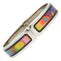 M. Frey Willie Stainless Steel Enamel Love Bangle Bracelet