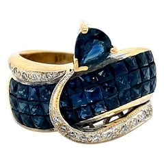 Amazing Vintage 18K Yellow Gold Diamond and Sapphire Invisible Set Ring.