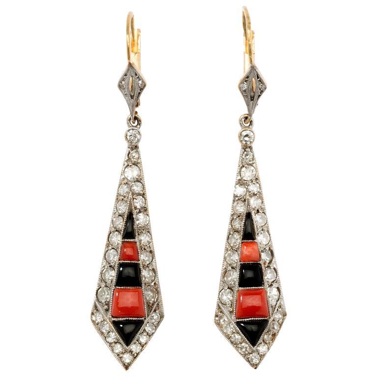 Art Deco Coral Onyx Diamond Gold Platinum Dangle Earrings