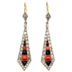 Coral Onyx Diamond Gold Platinum Dangle Earrings