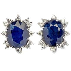 Pair of Sapphire Diamond White Gold Stud Earrings