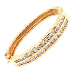 14K Yellow Gold Double Wide Channel Diamond Bangle Bracelet 4.25ct