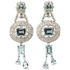 Pair of Art Deco Style Aquamarine Diamond White Gold Dangle Earrings