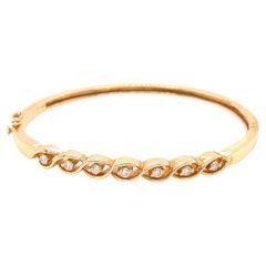 14K Yellow Gold Diamond Bangle Bracelet .25ct