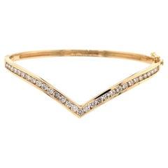14K Yellow Gold Diamond Chevron Bangle Bracelet 1.39ct
