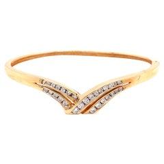 14K Yellow Gold Diamond Bangle Bracelet .87ct
