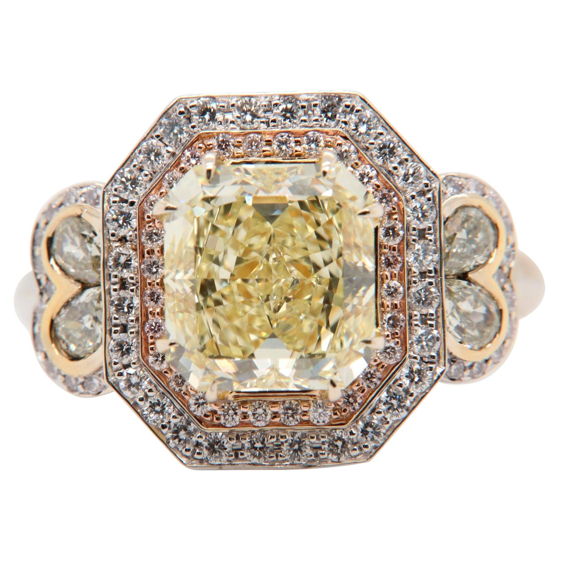 GIA Certified 3.43 Carat Fancy Yellow Diamond Ring in 18 Karat Gold