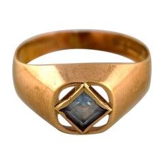 Swedish Jeweler, Modernist Vintage Ring, 18 Carat Gold with Semi-Precious Stone