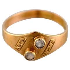Swedish Jeweler, Modernist Vintage Ring, 18 Carat Gold with Semi-Precious Stones