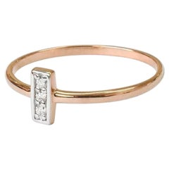 10k 14k 18k Solid Gold Pave Diamond Bar Ring Genuine Diamond Ring