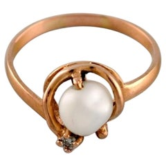 Swedish Jeweler, Ring in 18 Carat Gold with Cultured Pearl, 1930s/40s