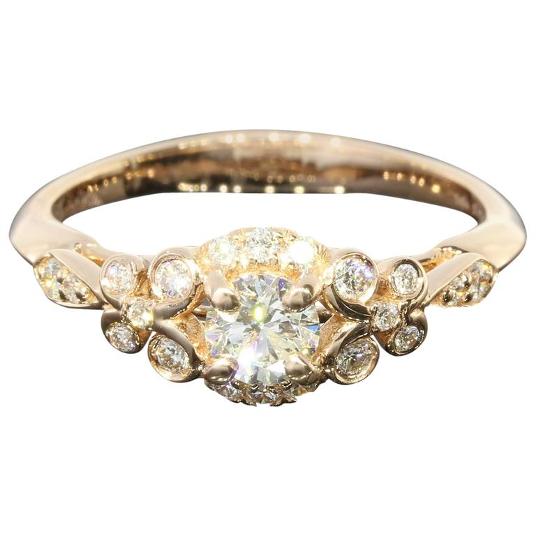 Floral Diamond Gold Engagement Ring For Sale