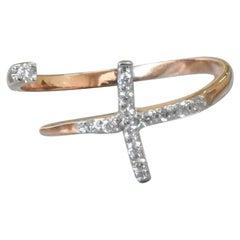 18k 14k 10k Gold Pave Diamond Cross Ring Open Diamond Unique Diamond Promise Rin