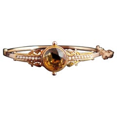Antique Victorian Citrine and Seed Pearl Bangle, 9 Karat Yellow Gold