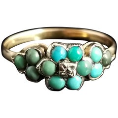 Antique Victorian Turquoise and Diamond Cluster Ring, 18kt Gold, Forget Me Not