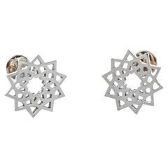 Arabesque Deco Earrings in 18kt White Gold