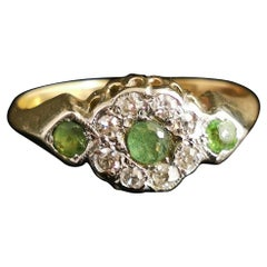 Antique Edwardian Peridot and Diamond Cluster Ring, 18k Yellow Gold