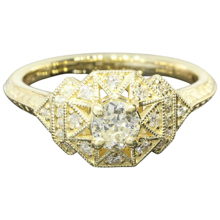 Art Deco Aztec Inspired Old European Diamond Gold Ring 1