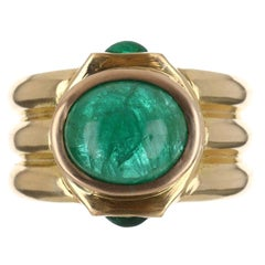 3.87tcw 14K Emerald Cabochon Three Stone Ring