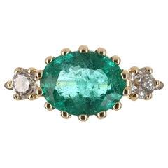 2.40tcw 14K Three Stone Oval Emerald & Diamond Ring