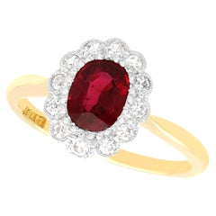 Antique 1.03Ct Thai Ruby and Diamond Yellow Gold Cluster Ring, Circa 1930