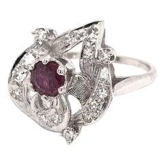 Retro Era Ruby & Diamond Cocktail Ring 14K White Gold