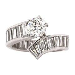 Custom 5 Carat Diamond Bypass Ring 18K White Gold