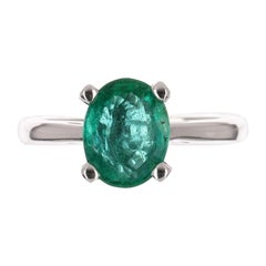 1.77cts 14K 4-Prong Oval Cut Colombian Emerald Solitaire Ring