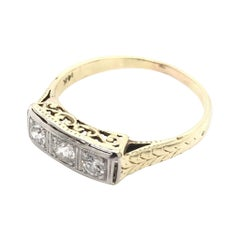 Petite Art Deco 0.3 Ctw Diamond Three Stone Ring