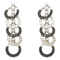10 Karat White Gold Circle Drop Diamond Earrings