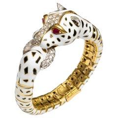 18K Frascarolo Modele Depose Enamel, Diamond and Ruby Bracelet