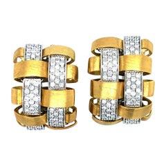 Garavelli 18 Karat Yellow White Gold Diamond Lattice Half Hoop Earrings, Italy
