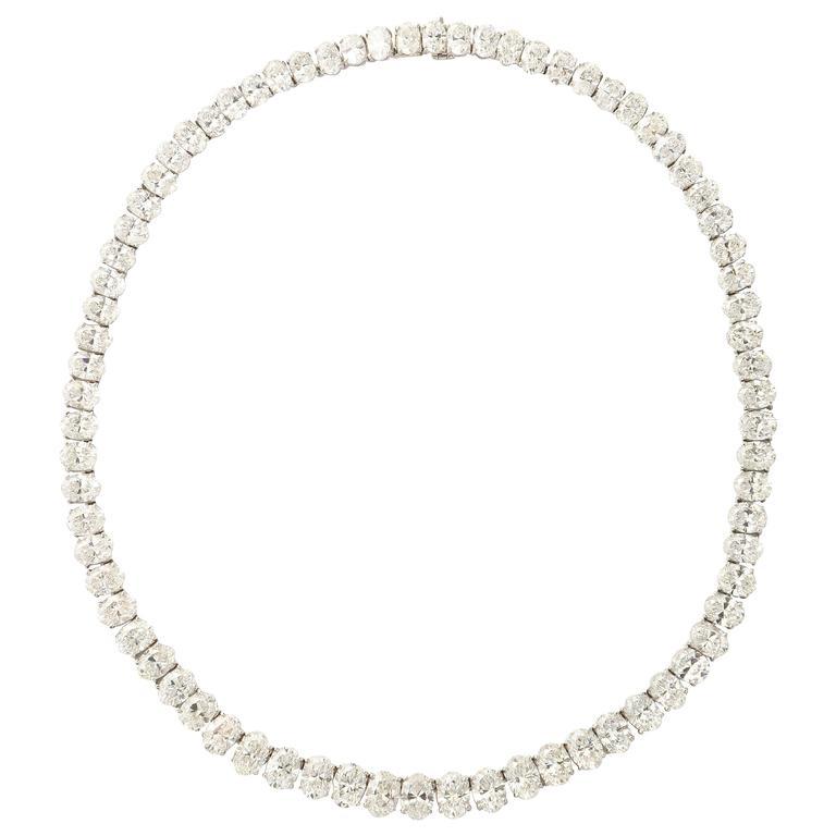Rare Oval Diamond Platinum Necklace