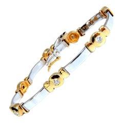 1.50 Carat Natural Round Diamond Bezel Flush Set Diamond Two-Tone Bracelet 14kt