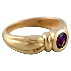 Hermann Siersbøl, Denmark, Vintage Ring in 14 Carat Gold Adorned with Amethyst
