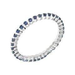 18 Karat White Gold Blue Sapphires Garavelli Ring