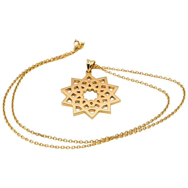 Arabesque Deco Pendant in 18kt Gold For Sale