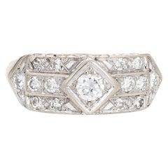 Vintage Art Deco Diamond Ring 14k White Gold Band Estate Fine Jewelry