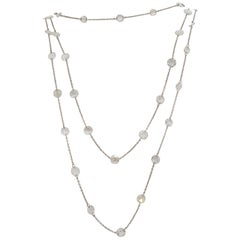 White Diamond Rosecut Diamond by the Yard Necklace in 18k White Gold