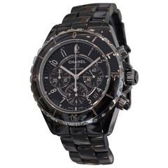 Chanel Black Ceramic J12 Chronograph Automatic Wristwatch