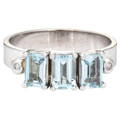 60s Aquamarine Diamond Ring Vintage 14k White Gold Estate Fine Jewelry