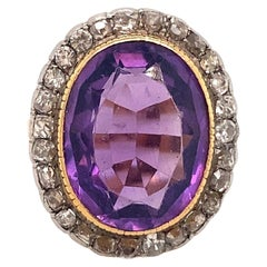 10 Carat Vintage Amethyst Diamond Ring 18 Karat Yellow Gold
