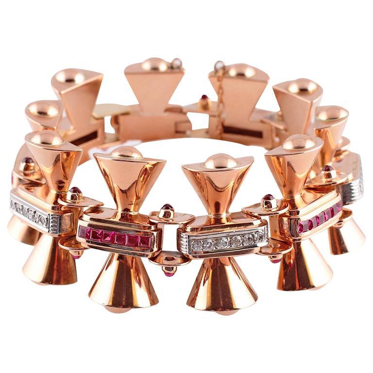 Ruby Diamond Two-Color Gold Bracelet