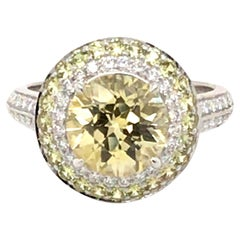 Australian Yellow Sapphire and Diamond Ring