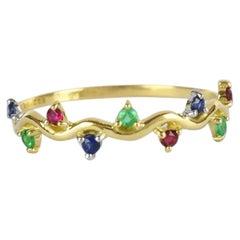 10k 14k 18k Emerald Ring Ruby Ring Sapphire Ring Multi Stone Colorful Ring